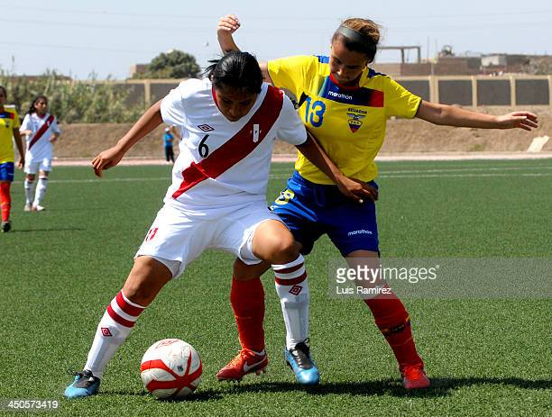 Carmen Quesada of Peru fights for the ball with Alexandra Jean of Ecuador during a match between Peru and Ecuador in Women's U20 football Qualifiers...