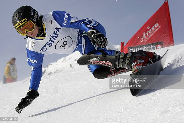 Carmen Ranigler of Italy passes a curve on her way to placed 6th during the Women's parallel giant slalom final contest at the FIS Snowboard World...