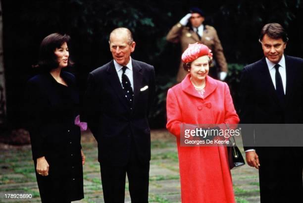Carmen Romero wife of former Spanish Prime Minister Felipe Gonzalez Prince Philip Queen Elizabeth II and Felipe Gonzalez during a state visit of...