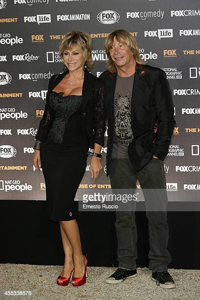 Carmen Russo and Enzo Paolo Turchi attend the Fox International Channels Party at Villa Aurelia on September 12 2014 in Rome Italy