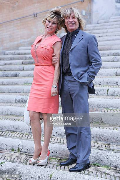 Carmen Russo and Enzo Paolo Turchi attend the Valeria Marini And Giovanni Cottone wedding at Ara Coeli on May 5 2013 in Rome Italy