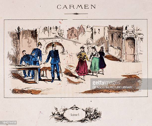 Carmen Scene I from the Rose album issued for the opening night of Carmen by Georges Bizet Paris BibliothèqueMusée De L'Opéra National De ParisGarnier