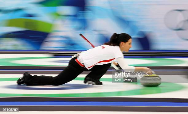 Carmen Schaefer of Switzerland releases the stone during the women's bronze medal curling game between China and Switzerland on day 15 of the...