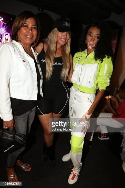 Carmen Surillo La La Anthony and Winnie Harlow backstage at PlayStation Theater on August 13 2018 in New York City