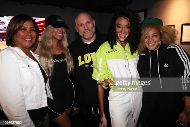 Carmen Surillo La La Anthony Steve Rifkind Winnie Harlow and Po Johnson backstage at PlayStation Theater on August 13 2018 in New York City