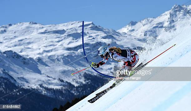 Carmen Thalmann of Austria competes during the Audi FIS Alpine Ski World Cup Finals Women's Slalom on March 19 2016 in St Moritz Switzerland