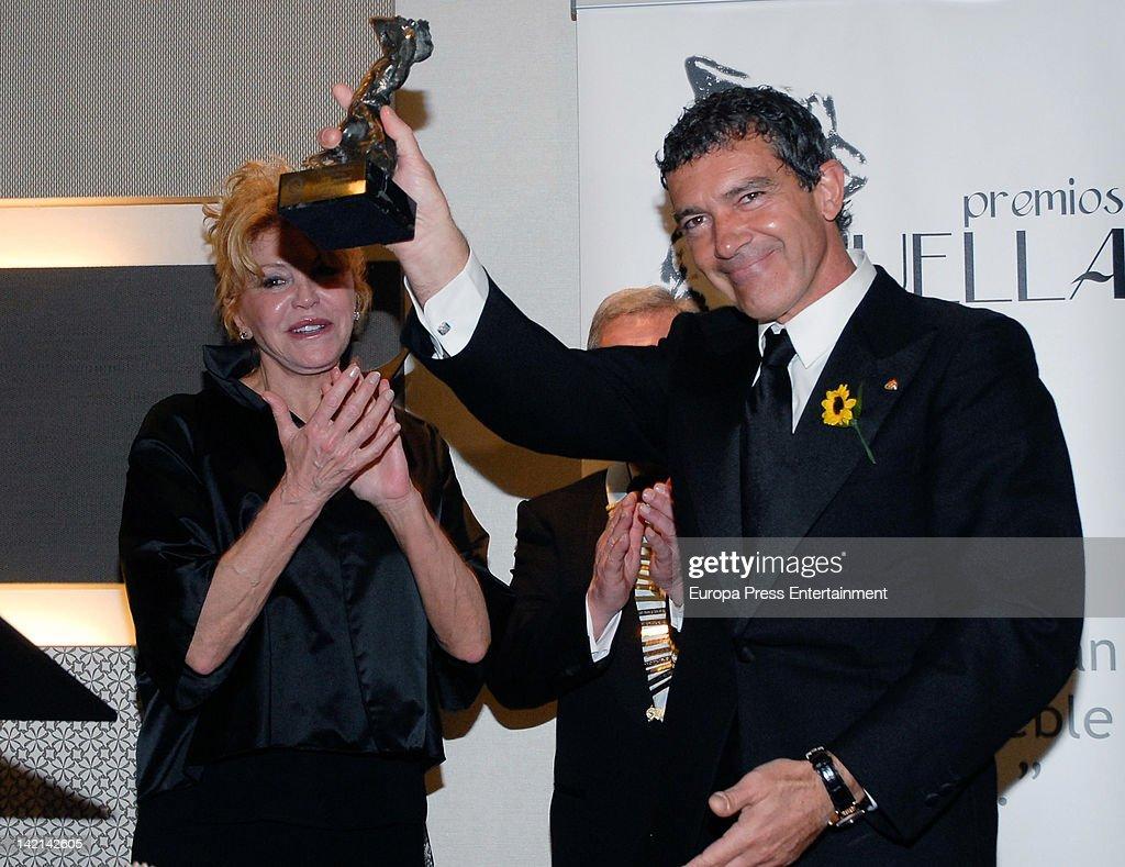 Carmen Thyssen Bornemisza and Antonio Banderas attend Huella Awards to Club Rotary at Vinci Hotel on March 29, 2012 in Malaga, Spain.