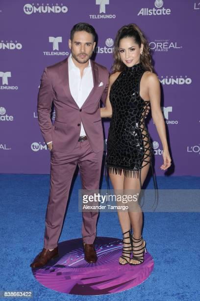 "Carmen Villalobos and Sebastian Caicedo arrives at Telemundo's 2017 ""Premios Tu Mundo"" at American Airlines Arena on August 24, 2017 in Miami,..."