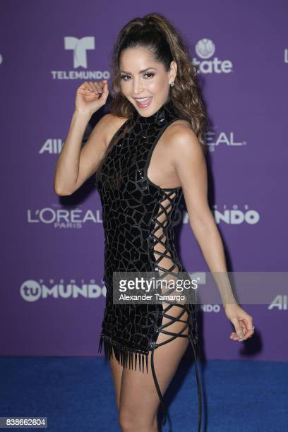 "Carmen Villalobos arrives at Telemundo's 2017 ""Premios Tu Mundo"" at American Airlines Arena on August 24, 2017 in Miami, Florida."