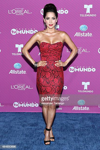 "Carmen Villalobos arrives at Telemundo's ""Premios Tu Mundo Awards"" at American Airlines Arena on August 20, 2015 in Miami, Florida."