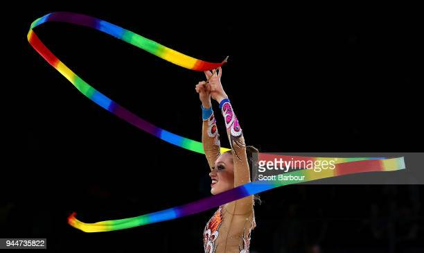Carmen Whelan of Canada performs with the ribbon in the Team Final and Individual Qualification during the Rhythmic Gymnastics on day seven of the...