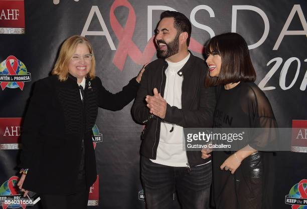 Carmen Yulin Cruz Enrique Santos and Becky G attend the AHF World AIDS Day Concert on December 1 2017 in Miami Florida