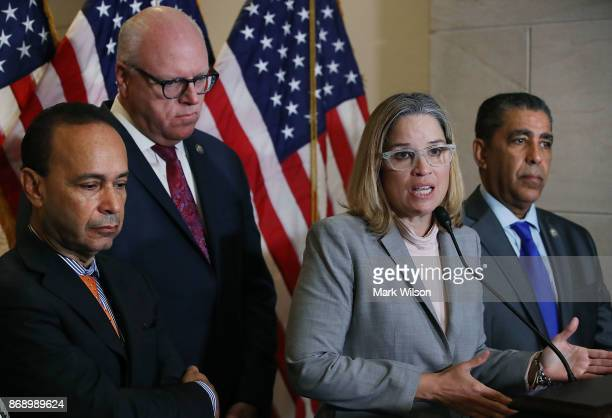 Carmen Yulin Cruz Mayor of San Juan Puerto Rico speaks to the media after meeting with the House Democratic Caucus about the current situation in...