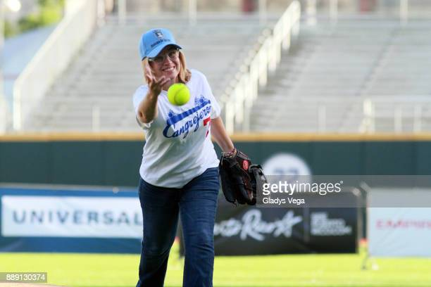 Carmen Yulin Cruz Mayor of San Juan throws the first ball as part of the aperture ceremony of the Yadier Molina Celebrity Softball Game at Hiram...