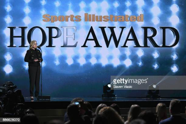 Carmen Yulin Cruz presents the Hope Awards of the Year Award during SPORTS ILLUSTRATED 2017 Sportsperson of the Year Show on December 5 2017 at...