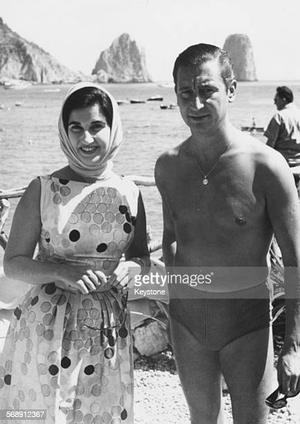 Carmencita Franco daughter of General Franco with her husband Cristobal Martinez Bordiu the Marquis Of Villaverde by the sea during a holiday in...