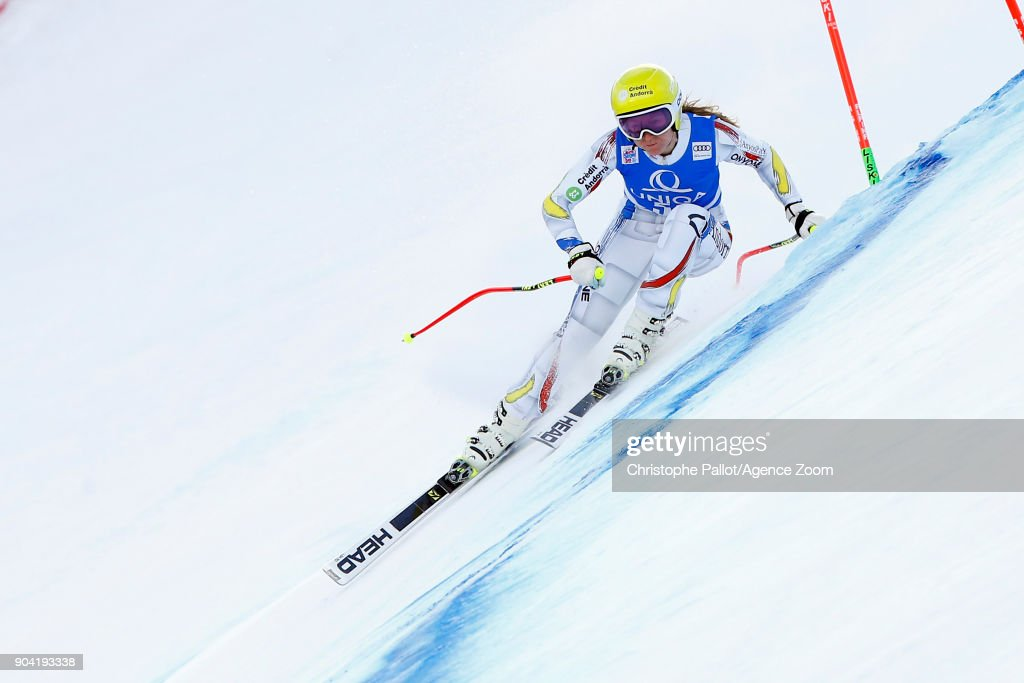 Carmina Pallas in action during the Audi FIS Alpine Ski World Cup Women's Downhill Training on January 12, 2018 in Bad Kleinkirchheim, Austria.