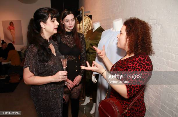 Carmina Suzanne Silvana Denker and Rivkie Baum attend Slink Magazine x 11Honoré NYFW Event at 111 8th Ave on February 10 2019 in New York City
