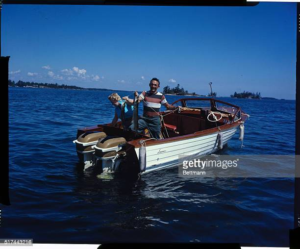 Carmine Basilio and his wife Kay are shown fishing for Northern Pike at his Alexandria Bay training camp