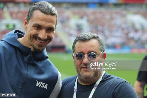 Carmine Raiola looks on with Zlatan Ibrahimovic prior to the 2018 FIFA World Cup Russia group F match between Germany and Mexico at Luzhniki Stadium...