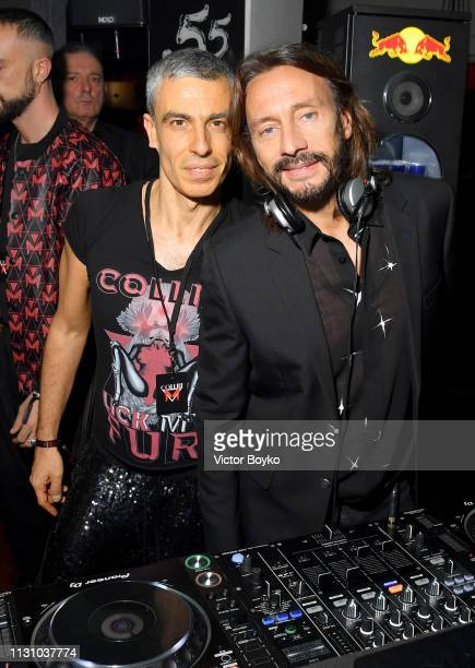 Carmine Rotondaro and DJ Bob Sinclar at the Collini Unminimal Party during Milan Fashion Week Autumn / Winter 2019/20 on February 20 2019 in Milan...