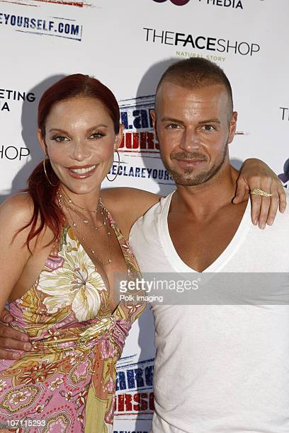 Carmit Bachar and Joe Lawrence at the Red White Blue Summer Oasis in Los Angeles on August 23 2008