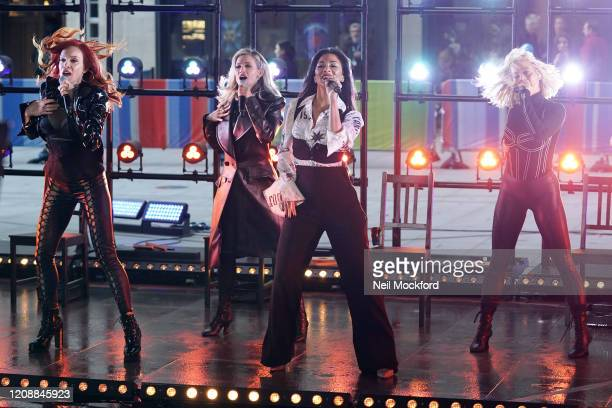 Carmit Bachar, Ashley Roberts, Nicole Scherzinger and Kimberly Wyatt seen at BBC Studios rehearsing for The One Show on February 26, 2020 in London,...