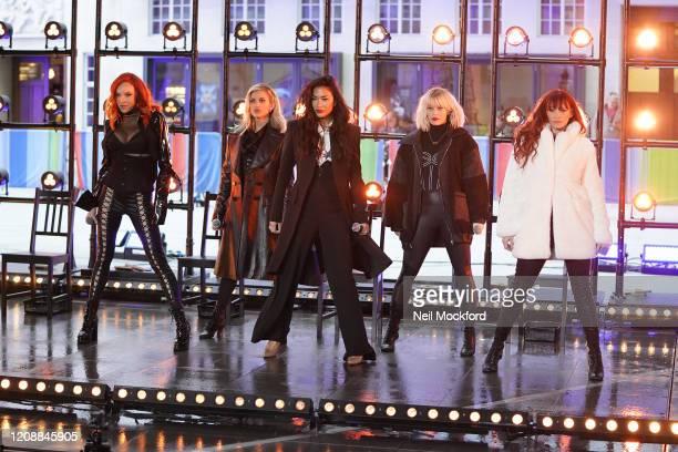 Carmit Bachar, Ashley Roberts, Nicole Scherzinger, Jessica Sutta and Kimberly Wyatt seen at BBC Studios rehearsing for The One Show on February 26,...