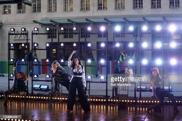 Carmit Bachar, Ashley Roberts, Nicole Scherzinger, Jessica Sutta and Kimberly Wyatt from The PussyCat Dolls seen at BBC Studios rehearsing for The...