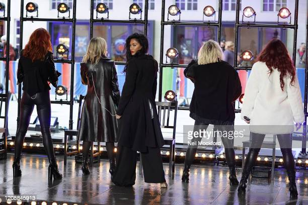Carmit Bachar Ashley Roberts Nicole Scherzinger Jessica Sutta and Kimberly Wyatt seen at BBC Studios rehearsing for The One Show on February 26 2020...