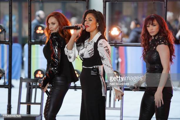 Carmit Bachar, Nicole Scherzinger and Jessica Sutta from The Pussycat Dolls seen at BBC Studios rehearsing for The One Show on February 26, 2020 in...