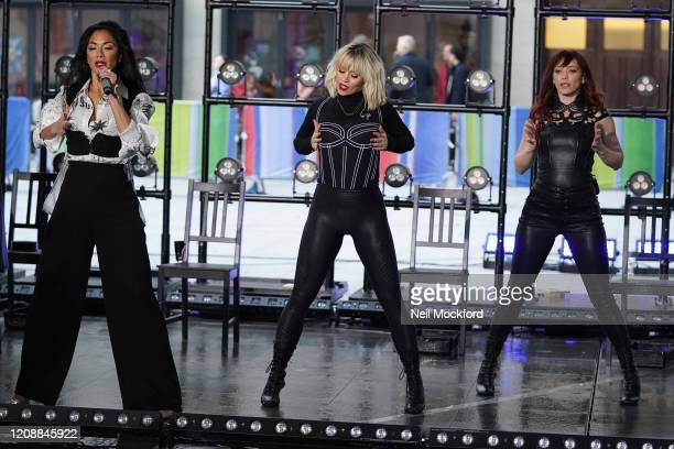 Carmit Bachar, Nicole Scherzinger, and Kimberly Wyatt from The PussyCat Dolls seen at BBC Studios rehearsing for The One Show on February 26, 2020 in...