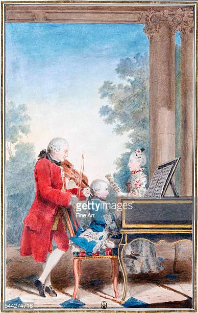 Carmontelle Wolfgang Amadeus Mozart in Paris as a child playing piano while his father JeanGeorgLéopold accompanies on the violin and his sister...