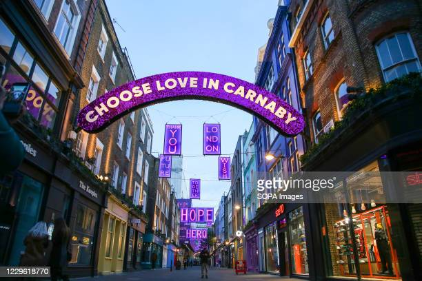 Carnaby Street Christmas Lights seen along the Carnaby Street in London's West End. This year's installations are glistening beacon of hope, kindness...