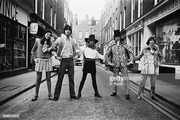 Carnaby Street fashions in Soho London 8th November 1967 Maggie Bass Ivan and Carole Debond Graham Peach and Jane Fox model the latest trends
