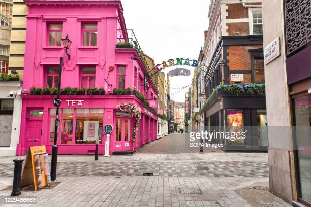 Carnaby Street normally busy with tourists and shoppers was near empty as England entered its second lockdown.