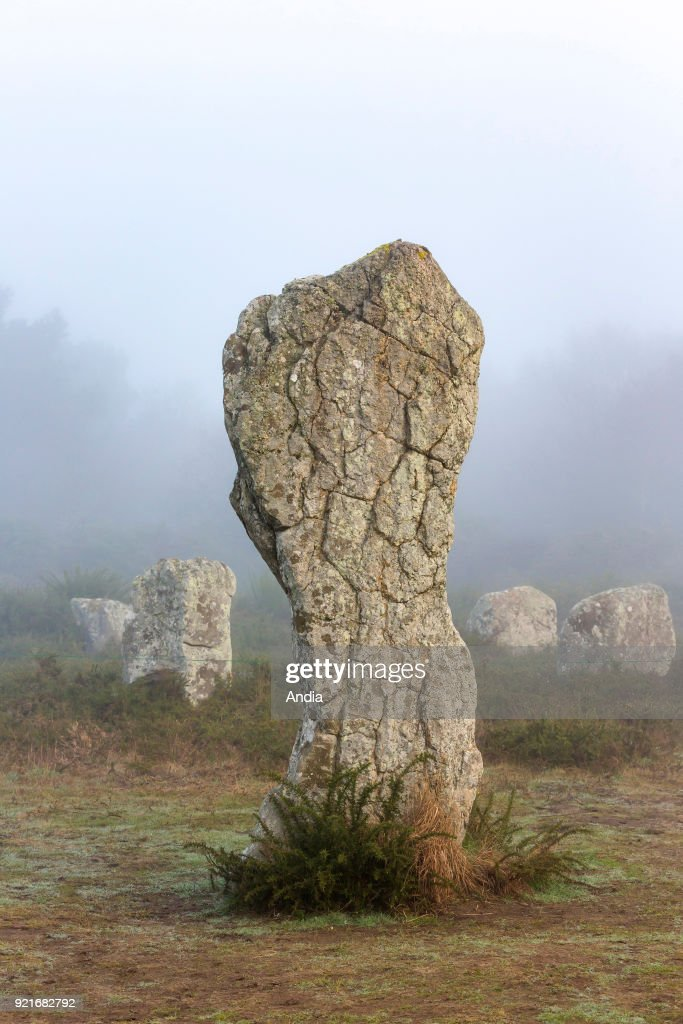 Alignments of Menhirs, standing stones of Menec. : News Photo