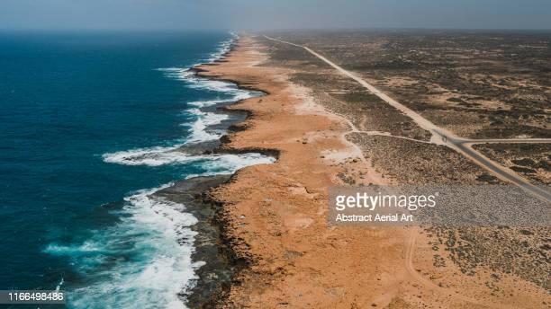 carnarvon coastline as seen from above, western australia - western australia imagens e fotografias de stock