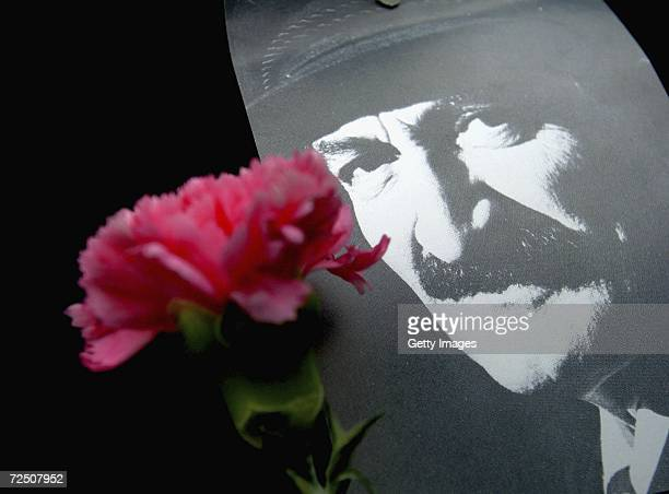 A carnation is attached to the picture of Former Prime Minister Bulent Ecevit during his funeral ceremony at the Kocatepe Mosque on November 11 2006...