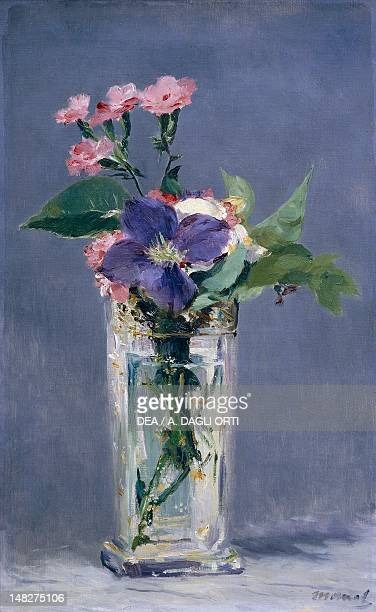 Carnations and clematis in a crystal vase by Edouard Manet oil on canvas 56x35 cm Paris Musée D'Orsay