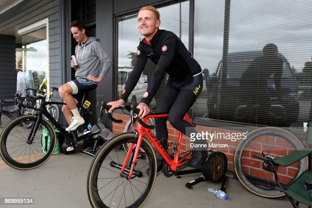 Carne Groube of Palmerston North warms up ahead of the individual time trial in Winton during the 2017 Tour of Southland on November 4 2017 in...