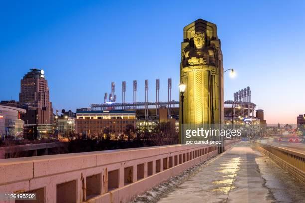 carnegie avenue, progressive field, cleveland, ohio, america - cleveland ohio stock pictures, royalty-free photos & images
