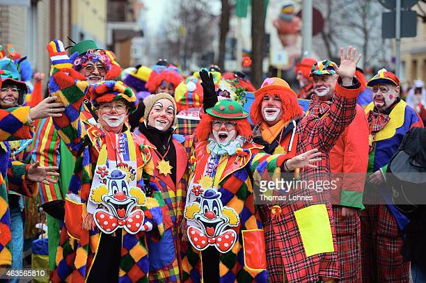 Carneval activist dress up as clowns participates in the annual Rose Monday carnival parade on February 16 2015 in Mainz Germany Rose Monday in...