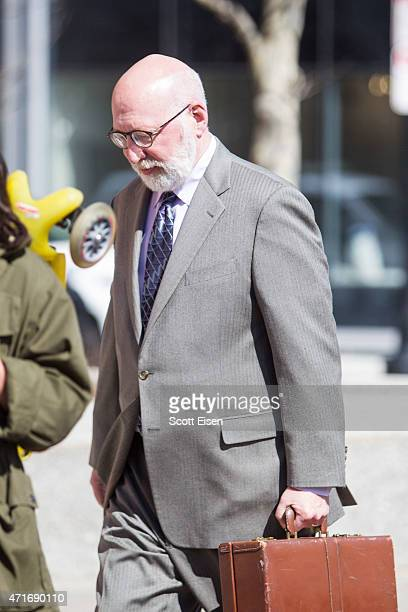 W Carney Jr criminal defense lawyer for Boston gangster Whitey Bulger walks into the John Joseph Moakley United States Courthouse on April 30 2015 in...