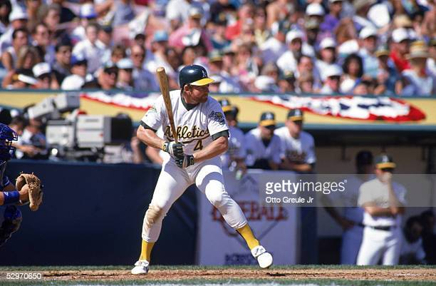 Carney Lansford of the Oakland Athletics stands ready at the plate during a Game three of the American League Championship Series against the Toronto...