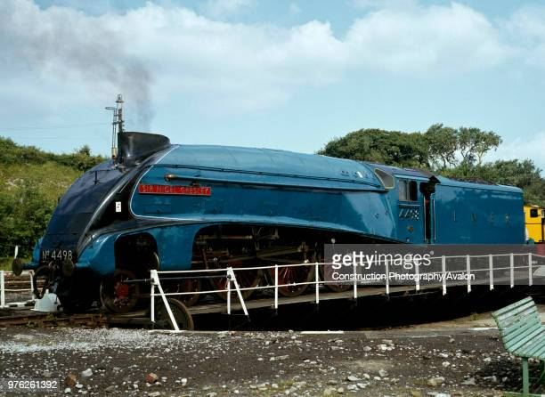 Carnforth No 4498 Sir Nigel Gresley is turned on the turn table ready for the Cumbrian Coast Express United Kingdom
