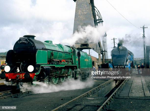 Carnforth Nos850 Lord Nelson and 4498 Sir Nigel Gresley being prepared for the Cumbrian Coast Express
