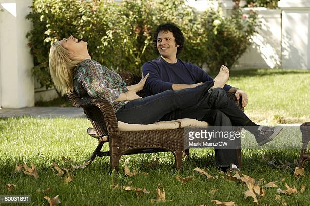 Carnie Wilson and husband Rob Bonfiglio pose for a photo during a portrait shoot at their home on September 14 2007 in Tarzana California
