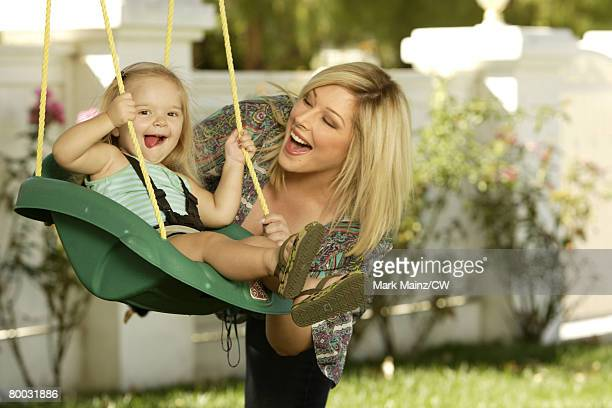Carnie Wilson poses with daughter Lola Bonfiglio during a portrait shoot at their home on September 14 2007 in Tarzana California