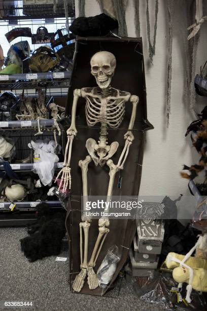 Carnival 2017 For everyone the right carnival disguise Scene with skeleton in a department store for carnival items